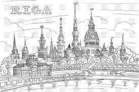 black and white hand drawing sketch of old town and river daugava