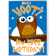 have a hoot on your birthday greeting card by stiktoonz