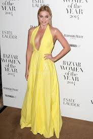 margot robbie casual yellow halter plunging backless prom dress