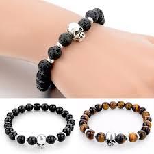 skull bracelet bead images Matto silver skull bracelet black stone ice moda jpg