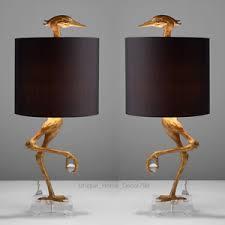 pair ibis crane table lamp set stork black gold living room office