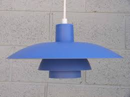 Blue Pendant Light by Louis Poulsen Ph 4 3 Poul Henningsen Mid Century Blue Pendant