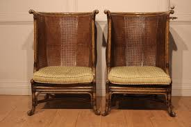 sold pair of high barrel back caned reading chairs antique