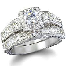 diamond wedding rings penelope s antique style imitation diamond wedding ring set only