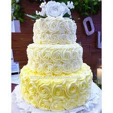 3 tier wedding cake 3 tier yellow ombre rosette wedding cake sofia s cakes tagaytay