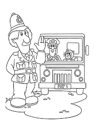 postman pat in truck coloring pages for kids printable free