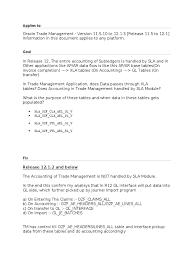 oracle trade management and sla oracle database sql