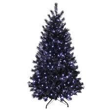 7ft black glitter pine artificial prelit bright white lights