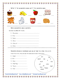Countable And Uncountable Worksheet For Grade 2 Click To Or Click And Drag To Move For Presentations