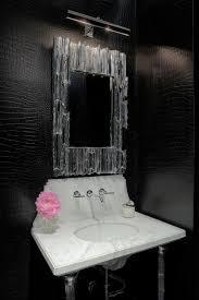 black snakeskin wallpaper contemporary bathroom