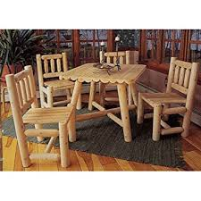 Rustic Patio Tables Amazon Com Rustic Natural Cedar Furniture Old Country 5 Pc