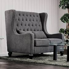 High Back Tufted Loveseat Furniture Of America Lystelle Romantic Wingback Button Tufted