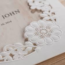 cw5175 white wood pattern laser cut wedding invitation free