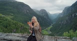 Beautiful Outdoors by Beautiful Woman Taking Selfie Photo Using Smartphone Outdoors