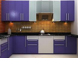Designs Of Small Modular Kitchen Purple Modular Kitchen For Small Spaces With White Combination