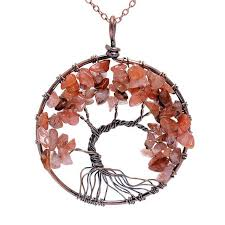 natural stone necklace pendant images Innocententre sedmart 7 chakra tree of life pendant necklace copper cr jpg