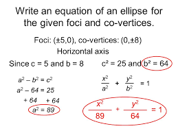 write an equation of an ellipse for the given foci and co vertices