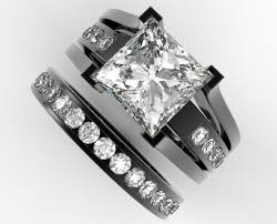 diamond wedding ring sets for princess cut diamond wedding ring set in black gold unique design