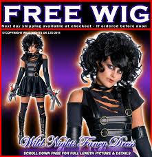 Edward Scissorhands Costume Halloween Fancy Dress Ladies Miss Edward Scissorhands Costume Wig