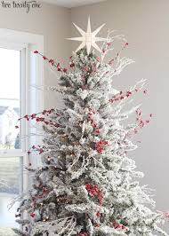 Christmas Tree Frosting Red And White Flocked Christmas Tree
