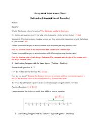 subtracting integers u0026 sum of opposites