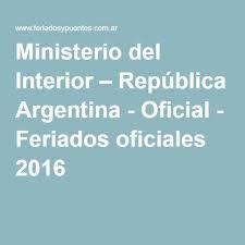 Calendario 2018 Argentina Ministerio Interior Ministerio Interior República Argentina Oficial Feriados