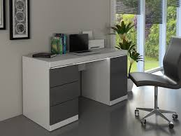 bureau blanc et gris bureau loic leds 1 porte 3 tiroirs blanc gris stylish bureau blanc