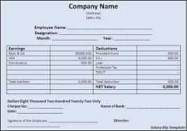 salary slip template free formats excel word