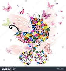 stroller flowers butterflies stock vector 84846817 shutterstock