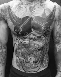 cover up mens hannya mask chest tattoos hamnya