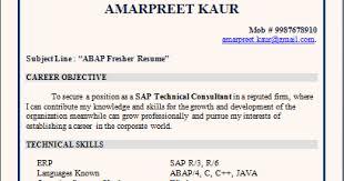 Resume For Sap Abap Fresher Resume Blog Co Resume Sample Sap Abap Fresher