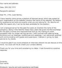 ideas of cover letter sample for server job on template huanyii com