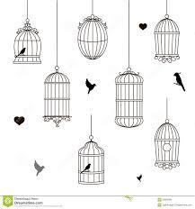 uccelli in gabbia insieme della gabbia per uccelli differente di stile illustrazione