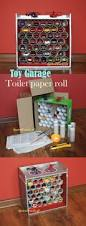 diy toy garage made from toilet paper rolls and cardboard boxes
