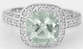 green amethyst engagement ring cushion cut green amethyst diamond rings in halo style ring