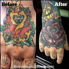 boston rogoz tattoo tattoos coverup rose cover up hand tattoo