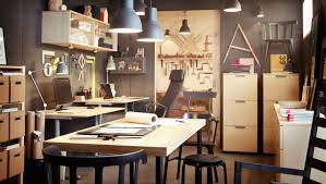 ikea office space gray walls blonde wood tones like the