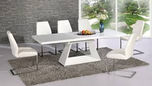 Gloss White Dining Table And Chairs Venice White High Gloss And Glass Dining Table With 6 Perth Apse Co