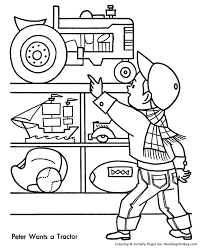 christmas shopping coloring pages toy tractor christmas coloring