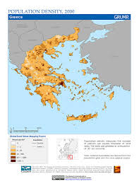 Map Greece by Maps Population Density Grid V1 Sedac