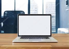 bureau d ontable ordinateur portable sur la table sur fond de bureau photographie