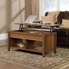 Sofa Computer Table by Coffee Table Lift Top Wood Cherry Storage Open Shelves Laptop