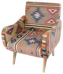 Kilim Armchair Geometric Kilim Hand Tufted Chair Southwestern Armchairs And