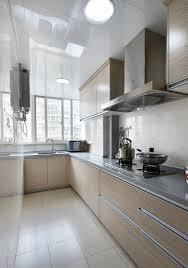 minimalist style beige kitchen renovation interior design