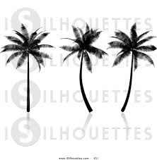 silhouette clipart of a trio of tropical palm trees silhouetted in