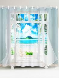 waterproof 3d window frame printed shower curtain blue w inch l