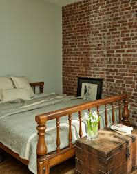 brick wall topper bedroom traditional with wood bed painted walls