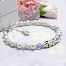 Personalized Name Bracelets Pearls And Birthstone Name Bracelets With Cultured Pearls And