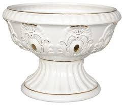 Pedestal Pots Planter White Gold Ceramic Ornate Vase 10