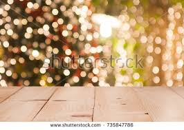 Christmas Decoration Lights Wood Table Top Snow Decorative Light Stock Photo 519535936